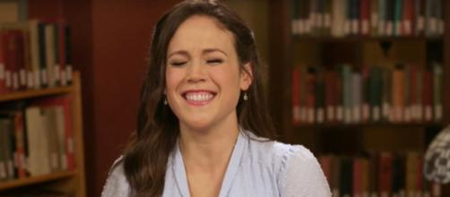 """Erin Krakow of """"When Calls the Heart"""" gets the giggles just thinking about all the romance in Season 7.[Image source:ET-YouTube]"""