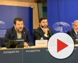 Matteo Salvini in conferenza stampa a Bruxelles