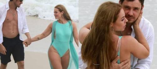 Na última cena de Vivi Guedes em 'A Dona do Pedaço', Paolla Oliveira e Sergio Guizé apareceram na praia. (Reprodução/TV Globo)