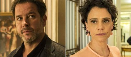 Após assinar o divórcio, ex-mulher usa antiga amante para impedir felicidade do ricaço. (Reprodução/TV Globo)