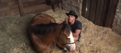 No estábulo, Lucas Viana foi fazer carinho no cavalo Lyon e aproveitou para se despedir na manhã desta quarta (4). (Reprodução/RecordTV)