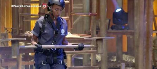 Sabrina Paiva venceu a prova do fazendeiro em' A Fazenda'. (Reprodução/Record TV)