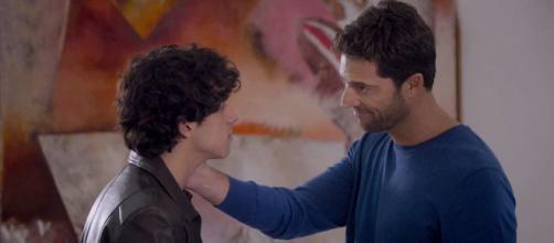 Jacopo (Matteo Santorum) e il padre Aldo ( Luca Capuano)