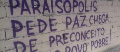 Clamores da comunidade foram grafados em muros. (Arquivo Pessoal)
