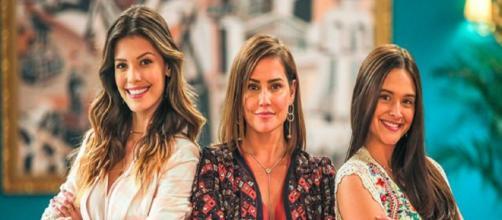 Kyra (Vitoria Strada), Alexia (Deborah Secco) e Luna (Juliana Paiva): as mocinhas da novela das sete. (Reprodução/TV Globo)