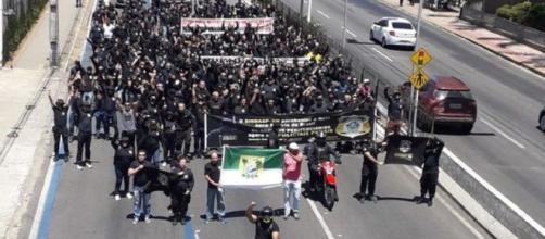 Policiais penais em protesto por andamento das negociações com o governo. (Sindasp/Divulgação)