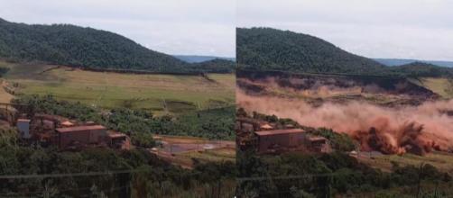 Rompimento da barragem em Brumadinho. (Reprodução/TV Globo)