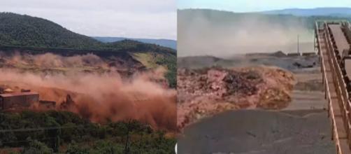 Vídeo mostra o poder de destruição da lama (Reprodução: Globo/Band News)