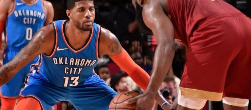 Paul George and James Harden each scored 40-plus points in a Saturday night showdown. [Image via NBA/YouTube]