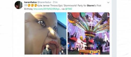Twitter reacts to Kylie Jenner's burthday party extravaganza for Stormi - Image credit TMZ via karenfadus | Twitter