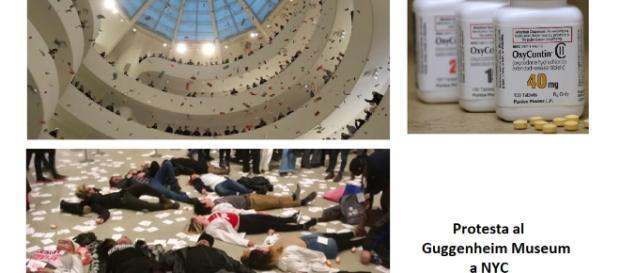 Protesta al Guggenheim per protestare contro un farmaco antidolorifico commercializzato dalla Purdue Pharma