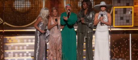 Lady Gaga, Jada Pinkett Smith, Michelle Obama, and Jennifer Lopez united with Alicia Keys at the 2019 Grammys. [Image source: GRAMMYS-YouTube]