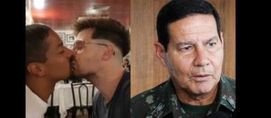 Casal homossexual se beija em frente a Mourão em restaurante para testar reação do general