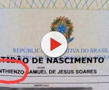 Corinthienzo: criança foi batizada em homenagem ao time do coração do pai (Reprodução/Veja SP)