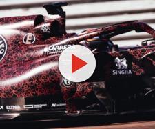 Kimi Raikkonen alla guida della nuova Alfa Romeo Racing