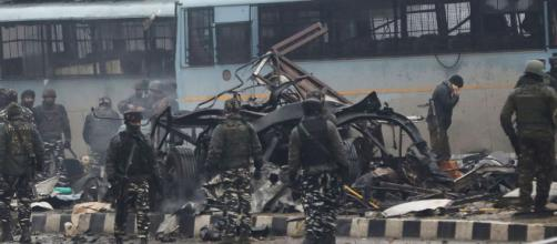 Car bomb kills over 40 Indian soldiers, wounds 20 in Kashmir convoy. photo- image credit-( screenshot NDTV/youtube.com)