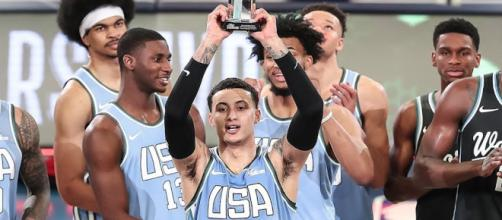 Lakers star Kyle Kuzma helped Team USA defeat Team World in the 2019 Rising Stars Game on Friday (Feb. 15). [Image via NBA/YouTube]