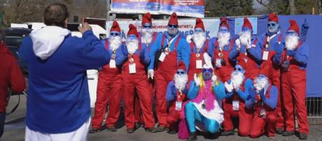 A German town is vying for a Guinness World Record for the largest number of Smurfs. [Image AFP news agency/YouTube]