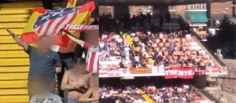 Símbolos y cánticos nazis del Frente Atlético en el Estadio de Vallecas