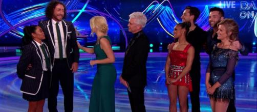 Three Celebrities fight for their place in the Final Five during double elimination (Image credit: Dancing On Ice/ITVhub)