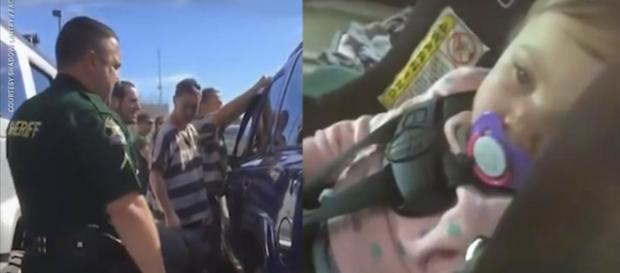 Florida inmates break into a locked SUV to rescue a toddler. [Image USA TODAY/YouTube]