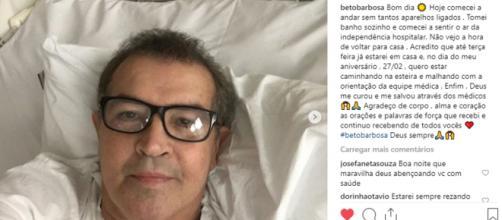 Nas redes sociais, Beto Barbosa divide boa notícia com fãs e seguidores. (Reprodução: Instagram)
