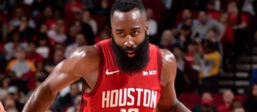 The Rockets' James Harden currently leads the NBA in scoring average. [Image via ESPN/YouTube screenshot]
