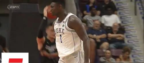 Zion Williamson suffered a freak injury after his shoe exploded during the Duke-UNC game. [Image Credit: ESPN - YouTube]