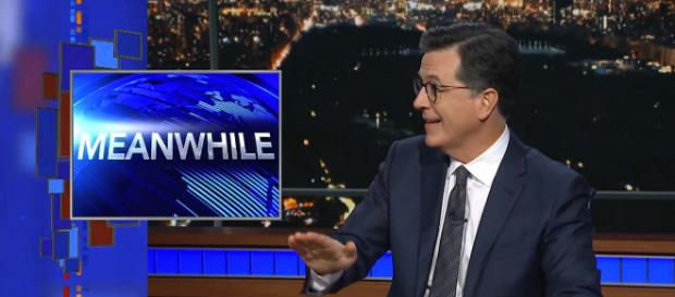"""""""Meanwhile"""" reveals some odd, funny and not-so-funny news hidden between the headlines. [Image The Late Show with Stephen Colbert/YouTube]"""