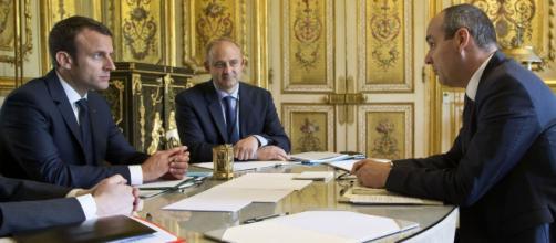 Emmanuel Macron recevant Laurent Berger à l'Elysée