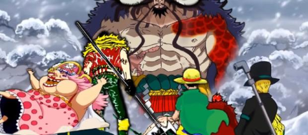 One Piece Chapter 934 raw scans: introduction of new character, Big Mom shows in Wanokuni. Image credit: Gear 5/YouTube screenshot