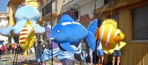 There was something fishy going on in La Cala de Mijas this Sunday as Carnival took to the streets. [Image courtesy Anne Sewell]