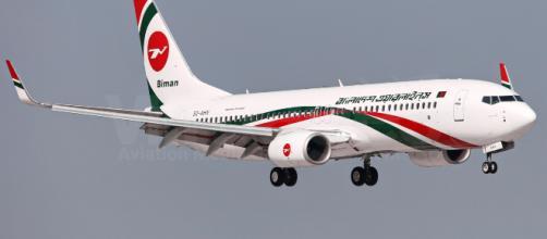Avião da companhia Biman Bangladesh Airlines, que teve uma de suas aeronaves sequestradas (Reprodução)