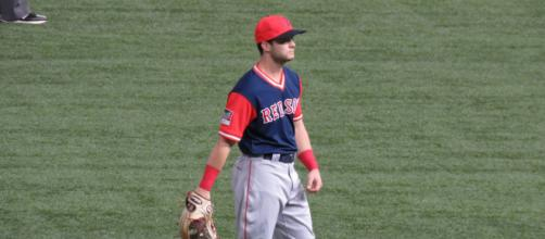 Andrew Benintendi finished second in American League Rookie of the Year voting in 2017. [Image Source: Flickr | Bryan Green]