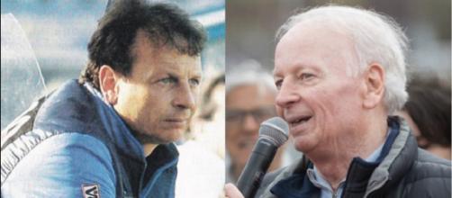 Ilario Castagner sulla panchina dell'Inter nella stagione 1984/85 ed in una foto recente
