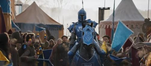 The Bud Knight asks people to 'hold his beer' in funny Super Bowl LIII commercial. /Image: 'Game of Thrones' YouTube channel (screenshot)