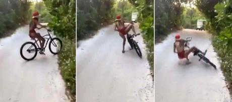 Nabilla embarque sur un vélo sans freins et fait une chute improbable.