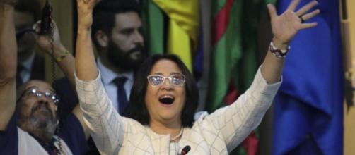 Damares Alves em sua posse como Ministra da Mulher, Família e Direitos Humanos. (Wilson Dias/Agência Brasil)