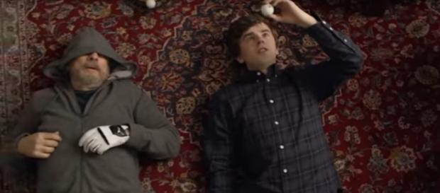 Dr Glassman (Richard Schiff) and Dr. Murphy (Freddie Highmore) enjoy some cannabis capers on The Good Doctor. [Image source:TV Promos-YouTube]