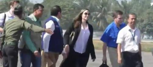 Angelina Jolie visits Rohingya camp in Bangladesh. [Image source/AFP News Agency YouTube video]