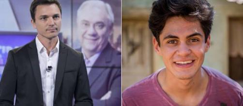 Diego Esteves trabalha como jornalista e Lucas Veloso como ator. (Foto: Reprodução TV Record / TV Globo)
