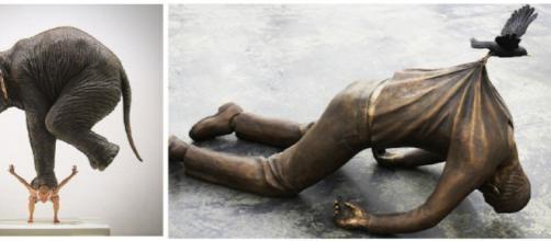 Escultura Pentateuque de Fabien Mérelle e Trans Ī Re de Fredrik Raddum. (Reprodução/Bored Panda)