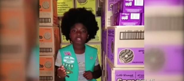 Girl Scout Kayla Paschall raps to the tune of Cardi B's money, selling out cookie. [Image Source: CBS Los Angeles - YouTube]