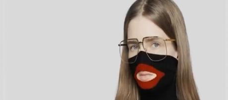 What were they thinking? Even the model looks unhappy to wear the jumper. [Image News Live Now/YouTube
