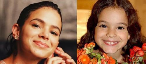 Atriz Bruna Marquezine na infância e atualmente (Imagem: Reprodução/Internet/Montagem)