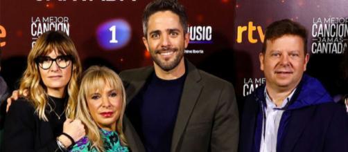 Galera, Prieto, Leal y Rubira en la presentación de la 'La mejor canción jamás cantada'. / GTRES