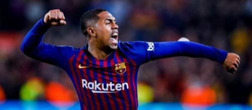 Malcom celebra con furia el gol del empate. Foto: Barcelona Twitter oficial.