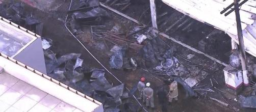 Incêndio em CT do Flamengo deixa 10 mortos e três feridos. Imagem: TV Globo