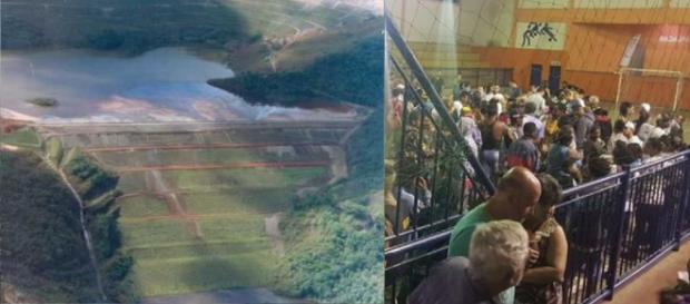 Barragem de Barão de Cocais e população evacuada (Foto divulgação Vale/Arquivo pessoal)