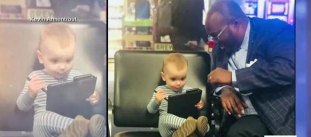 Carter Jean Armentrout and Joseph Wright bond over Snoopy at airport. [Image Source: Good Morning America via Kevin Armentrout - YouTube]